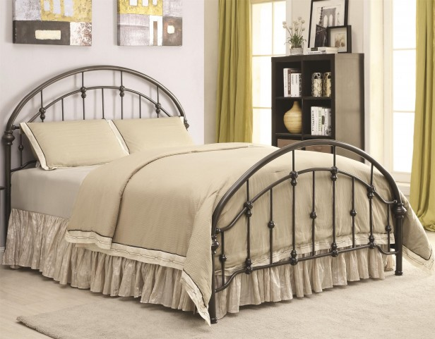 Maywood Dark Bronze Curved King Metal Bed
