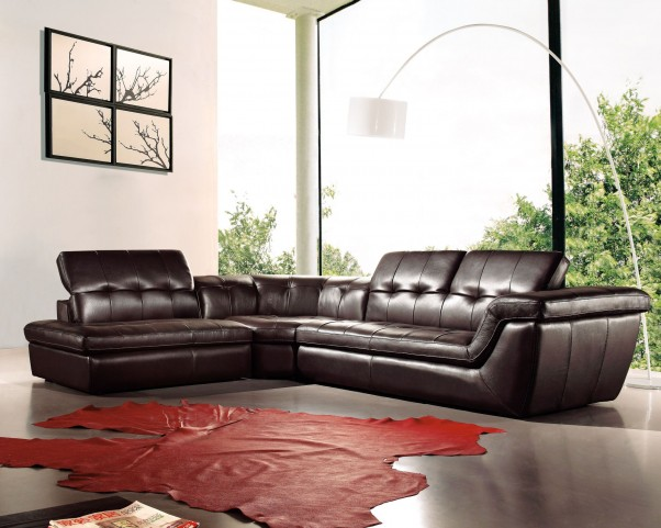 397 Chocolate Italian Leather LAF Sectional