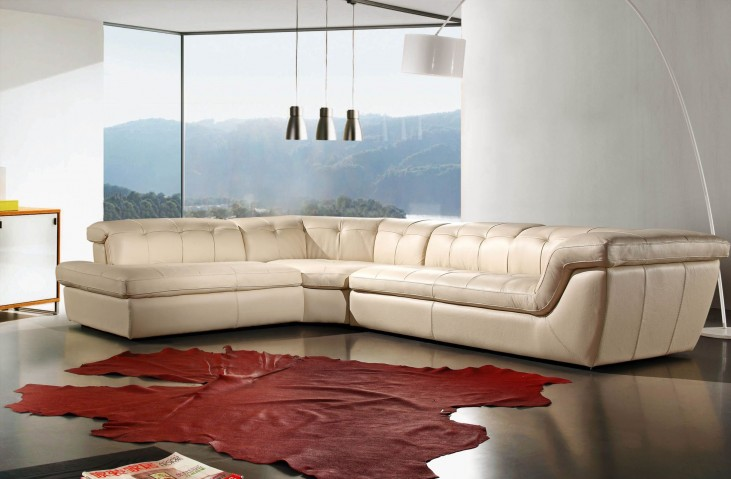 397 Beige Italian Leather LAF Sectional