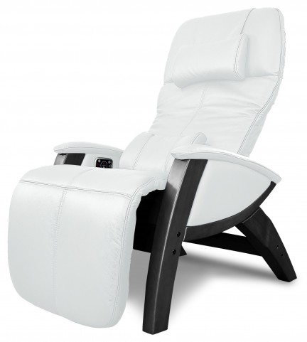 Svago Ivory Leather Benessere Chair With Black Wood Legs