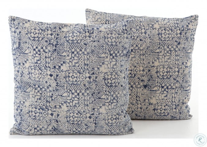 Willow Faded Denim Faded Mosaic Print Pillow Set Of 2