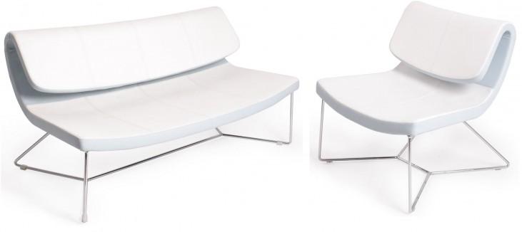 Hollywood White Leatherette Living Room Set