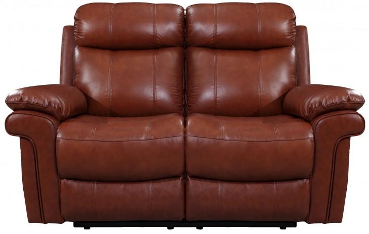 France Saddle Leather Reclining Loveseat