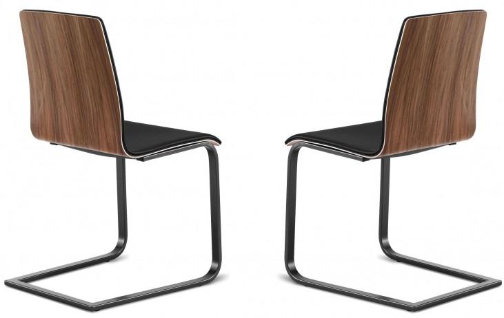 Juliet Walnut Back Black Steel Chair Set of 2