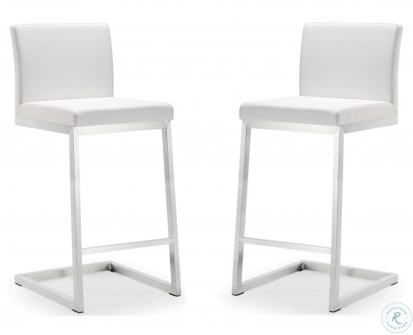 Fine Parma White Stainless Steel Counter Stool Set Of 2 Caraccident5 Cool Chair Designs And Ideas Caraccident5Info