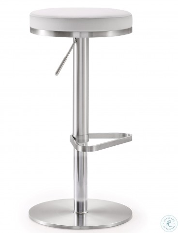 Fano White Stainless Steel Adjustable Bar Stool