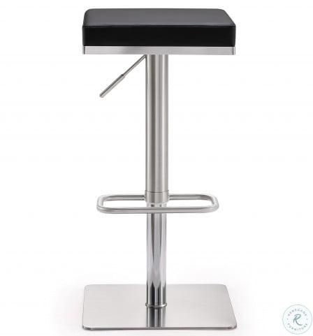 Bari Black Stainless Steel Adjustable Bar Stool