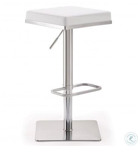 Bari White Stainless Steel Adjustable Bar Stool