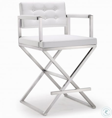 Swell Director White Stainless Steel Counter Stool Caraccident5 Cool Chair Designs And Ideas Caraccident5Info