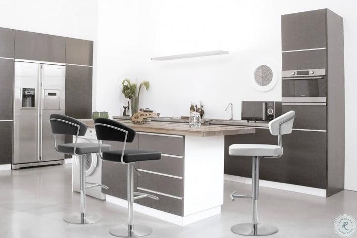 Cosmo Light Gray Steel Adjustable Bar Stool