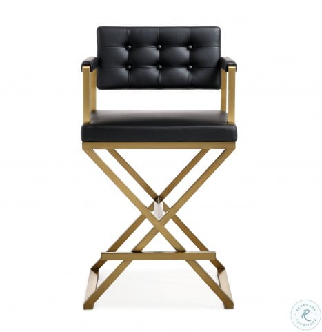 Fabulous Director Black Gold Steel Counter Stool Unemploymentrelief Wooden Chair Designs For Living Room Unemploymentrelieforg