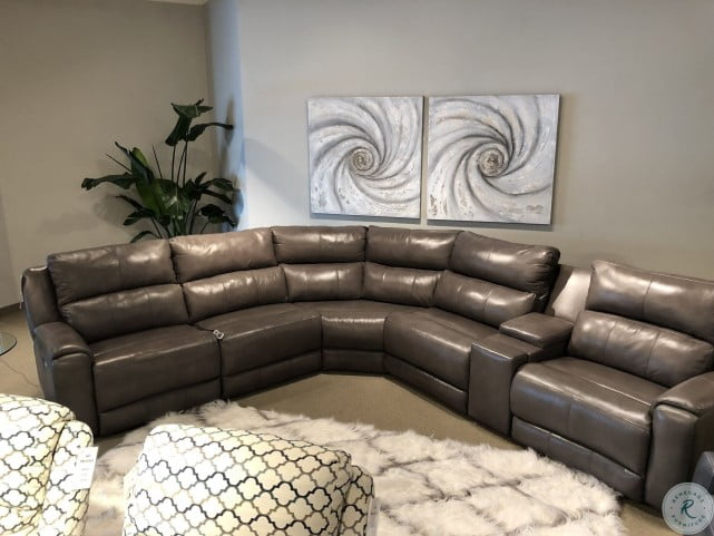 Stupendous Dazzle Gunmetal Power Reclining Sectional Sofa With Power Headrest Pdpeps Interior Chair Design Pdpepsorg