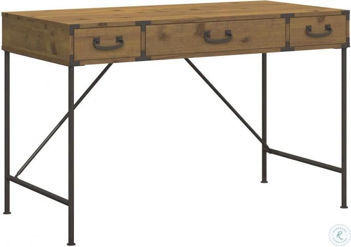 kathy ireland Office Ironworks 48W Writing Desk in Vintage Golden Pine