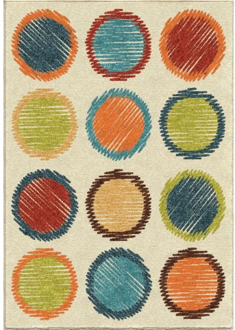 Kids Court Kids Polka Dots Circle Sketch Multi Small Area Rug