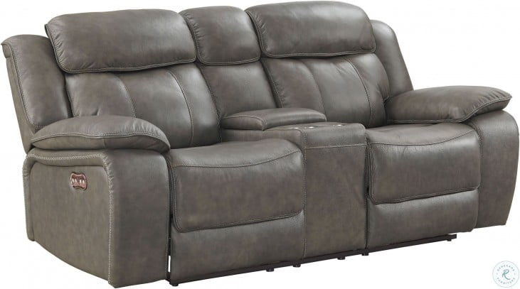 Miraculous Anya Gray Leather Dual Reclining Console Leather Loveseat Caraccident5 Cool Chair Designs And Ideas Caraccident5Info