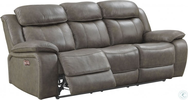 Prime Anya Gray Leather Dual Reclining Leather Sofa Caraccident5 Cool Chair Designs And Ideas Caraccident5Info