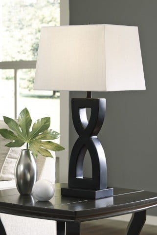 Amasai Black Poly Table Lamp Set of 2