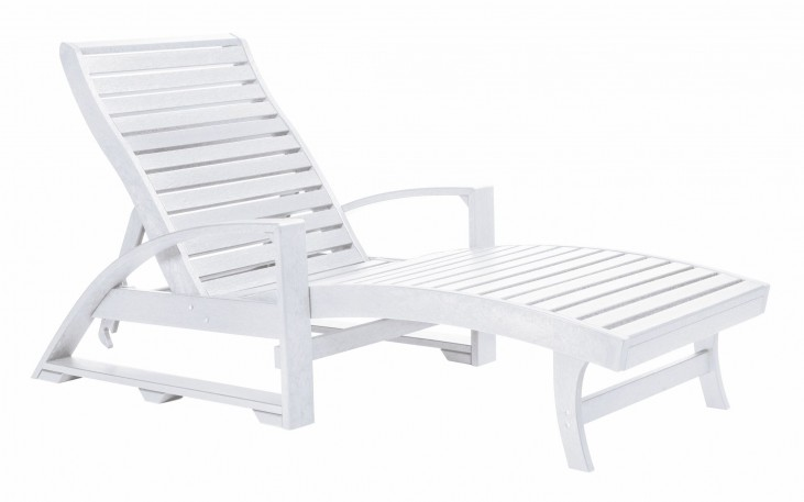 St. Tropez White Chaise Lounge with Wheels