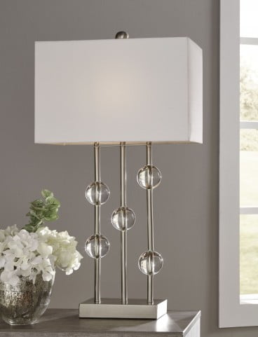 Jaala Clear and Silver Metal Lamp