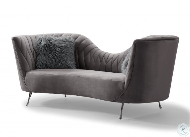 Eva Grey Velvet Sofa