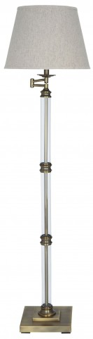 Arwel Antique Brass Glass Floor Lamp