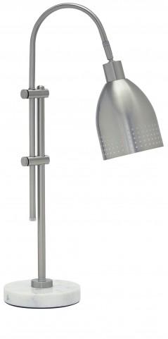Asabi Silver and Marble Metal Desk Lamp
