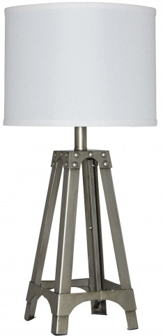Arty Silver Metal Table Lamp