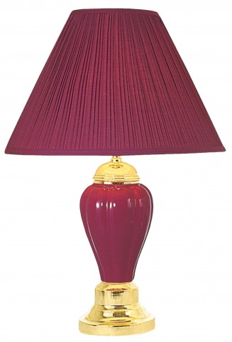 Acme Ceramic Burgundy Table Lamp Set of 6