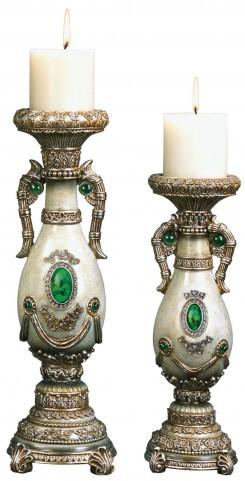 Gabriela Emerald Stone Candle Holder Set Set of 4