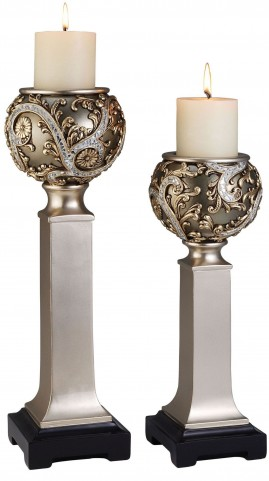 Estelle Champagne Silver Candle Holder Set Set of 4