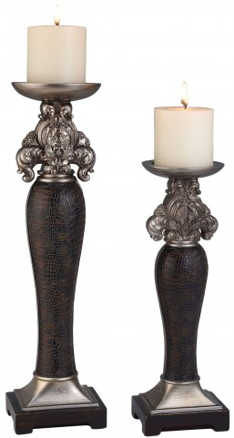Tracey Brown Faux Crocodile Leather Candle Holder Set of 4