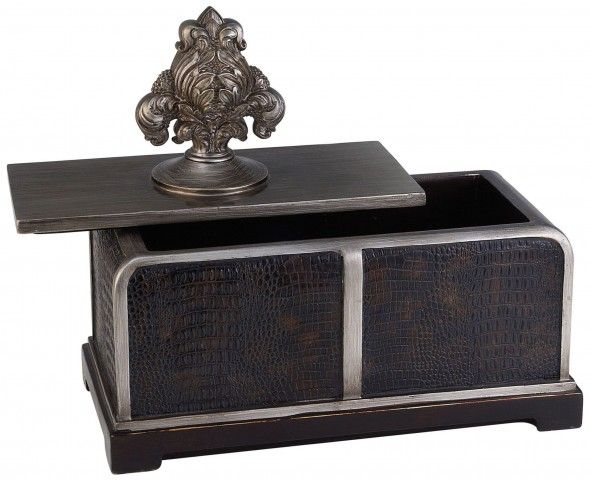 Tarcey Brown Faux Crocodile Leather Decorative Box Set of 4