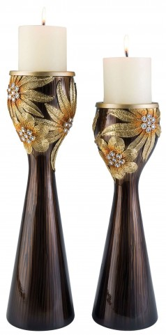 Jacqueline Glossy Wooden Candle Holder Set of 4