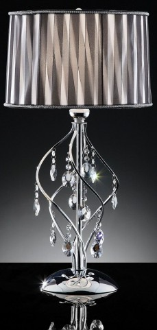 Arya Black Sheer Hanging Crystal Table Lamp