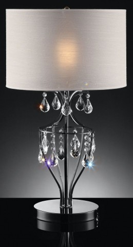 Ella Black Chrome Hanging Crystal Table Lamp