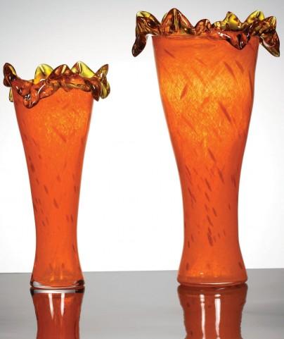 Zuri Fiery Orange Vase Set