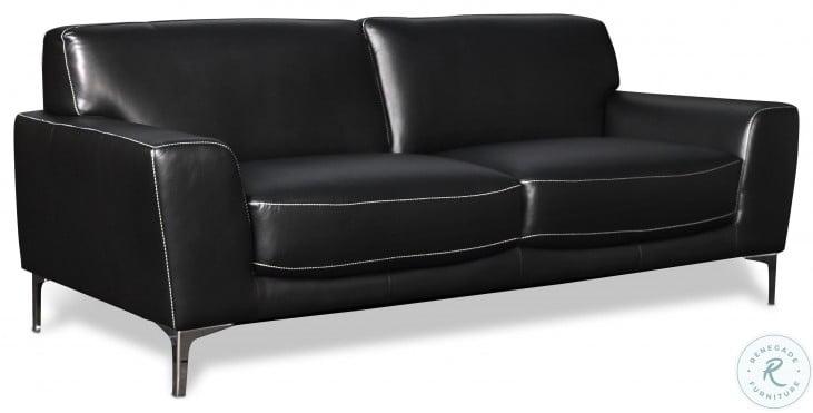 Carrara Black Leather Living Room Set