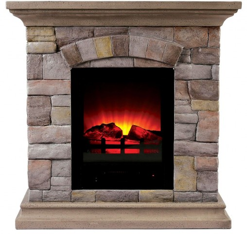 Juna Small Portable Faux Stone Fireplace With Heat & Light