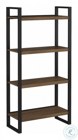 Latitude Rustic Brown Embossed 4 Shelf Etagere Bookcase From Bush Furniture Coleman Furniture