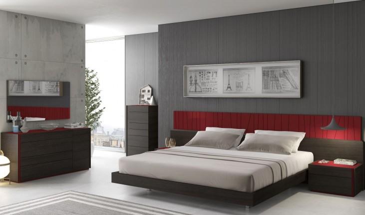 Lagos Natural Light Grey Lacquer Platform Bedroom Set