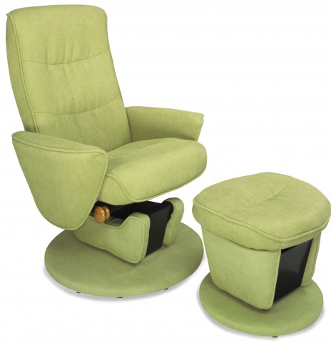 Relax R Leaf Green Fabric Swivel Glider Recliner With Ottoman