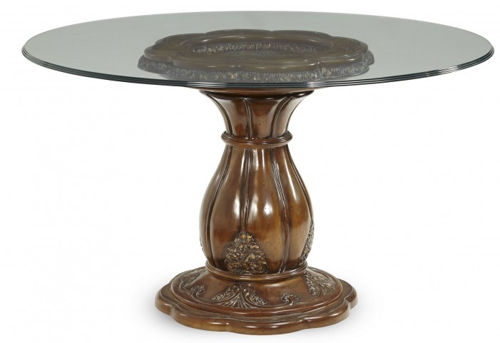 """Lavelle Melange 54"""" Round Glass Top Dining Table with Triple Edge"""