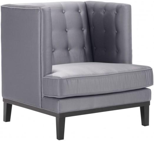 Noho Silver Satin Fabric Arm Chair