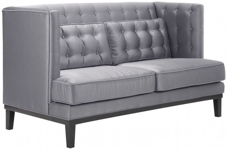 Noho Silver Satin Fabric Loveseat