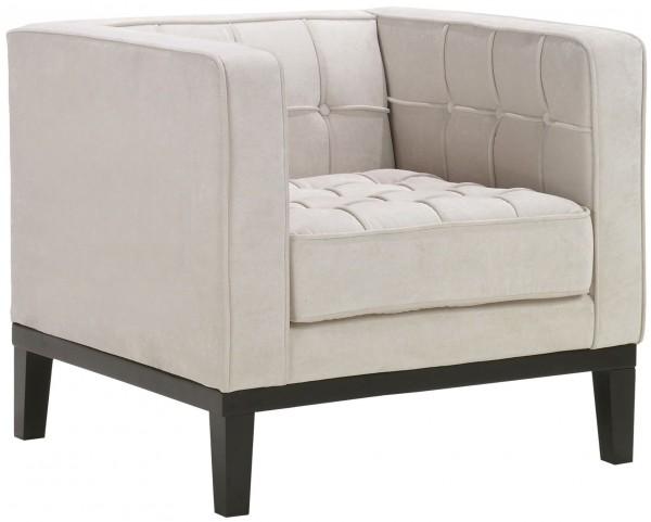 Roxbury Tufted Cream Fabric Arm Chair