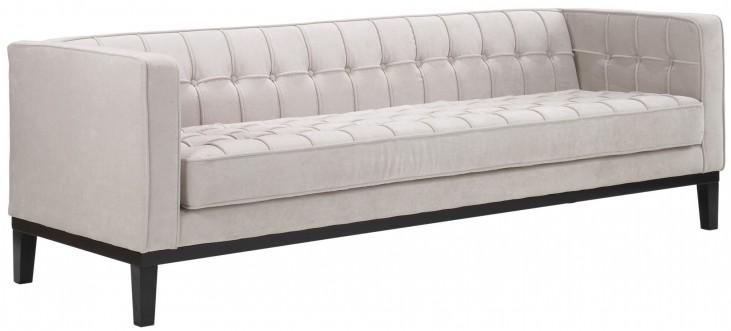 Roxbury Tufted Cream Fabric Sofa