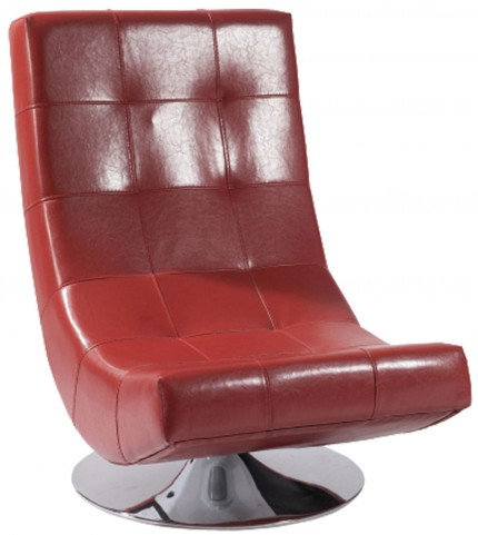 Mario Red Bonded Leather Swivel Chair