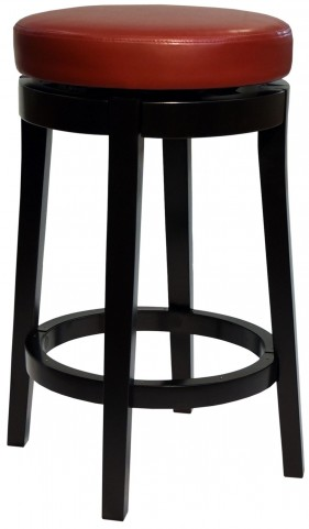 """Mbs-450 30"""" Red Bonded Leather Backless Swivel Barstool"""