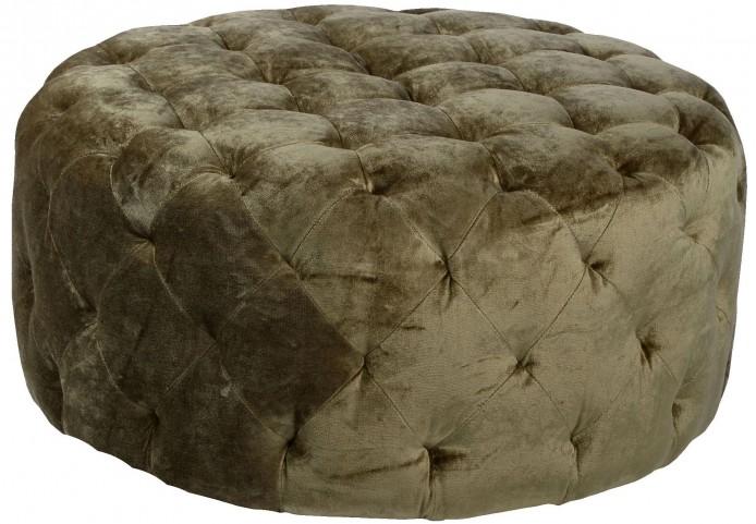 "Victoria 36"" Moss Green Fabric Round Ottoman"