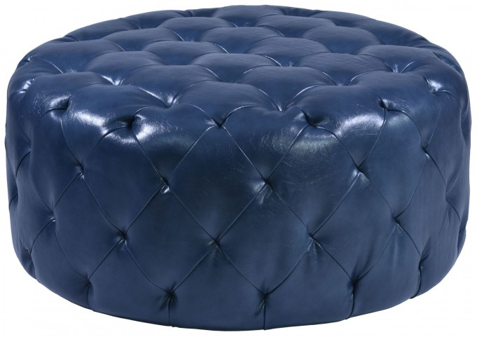Victoria Ocean Blue Bonded Leather Ottoman